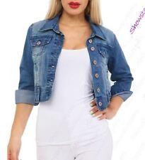 Womens Distressed Denim Jacket Blue Jean Jackets Size 8 10 12 14 16