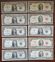 20 X $1 & $2 American Bank Notes 1935-1995