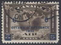 CANADA C4 1932 OTTAWA CONFERENCE 6c SURCHARGE ON 5c MERCURY AIR MAIL USED CV$20