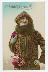 1920s French Fashion Flapper PRETTY LADY Deco Kitsch photo postcard
