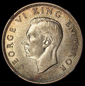 1940 New Zealand Centennial 1/2 Half Crown Silver Coin - NGC AU 58 - KM# 14