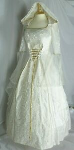 Ivory Medieval Wedding Dress Renaissance Hooded Gown Custom made to size