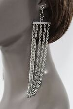 New Women Earrings Long Fringe Metal Chain Silver Sexy Fashion Hook Dangle