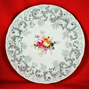 ROYAL CROWN DERBY Luncheon Plate GREY SCROLL Lunch VINTAGE China POSIES