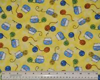 1/2 yard cotton quilt fabric A cat's Life Quilting Treasures cat toys yarn fish
