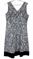 Katies Womens Black/White Floral Sleeveless Fit Flare Dress Size 12