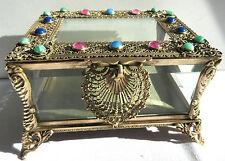 SUBLIME boite à bijoux en Pomponne, Napoléon III, verres biseautés, perles verre