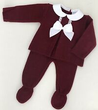 Baby Girls Boys Spanish Style Wine Knitted Bow Jumper & Trousers Set *Small Fit*
