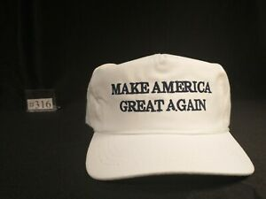 Authentic Donald J Trump 2016 Campaign White-Navy MAGA Hat by Cali-Fame   # 316