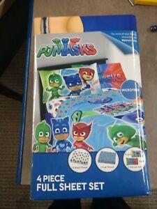 PJ Masks Kids Soft Microfiber - Full Size - 4 Piece Bedding Sheet Set - NEW