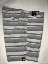 Roundtree & Yorke Mens Shorts 40 Gray Striped Straight Fit Cotton NEW