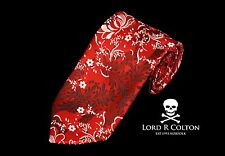 Lord R Colton Masterworks Tie - Merano Cardinal Red Floral Woven Necktie - New