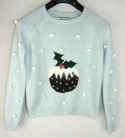 New Look Womens Christmas Jumper Christmas Pudding Festive Green UK Size 8