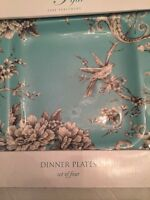 222 Fifth Adelaide Teal Set Of 4Square Dinner Plates French Toile Bird New Nobox