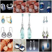Boho 925 Silver Sapphire Moonstone Ear Hook Dangle Drop Earrings Women Jewelry