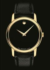 Movado Mens Black Dial Museum Swiss Quartz Leather Strap Gold Tone Watch 2100005