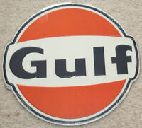 GULF OIL GAS SIGN NEW VINTAGE 1960'S Look ADVERTISING GAS PUMP SIGN
