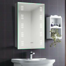 Bathroom Mirror Cabinet LED Illuminated with Shaver Socket/Clock/Demister/Sensor