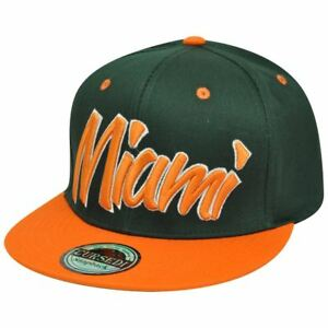 Miami Florida MIA Italic Script Flat Bill Snapback Hunter Green Orange Hat Cap