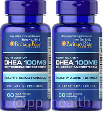 2X Puritan's Pride DHEA 100 mg total 120 Capsules Building Muscle Burning Fat