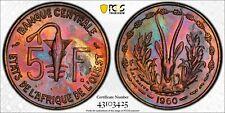West African States 5 Francs Amazing Toning! PCGS UNC!