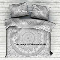Doona Duvet Cover Indian Silver Ombre Mandala Comforter Cover With Pillow Shams