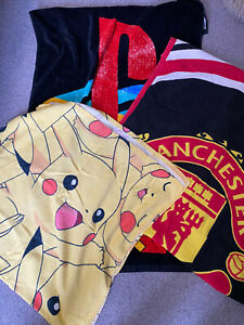 3 Kids Beach Towels - Pokemon, Playstation And Manchester United