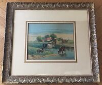 ANTIQUE ORIGINAL WATERCOLOR LANDSCAPE PAINTING ON PAPER BY R.C.FISHER - 19TH C.