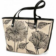 NWT Brighton DAYLEE Day Lee Tote Handbag Natural Black Flowers MSRP $260