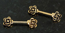"Pair 14g 1/2"" (12mm) Length Gold Plated Casted ROSE Nipple Rings / Barbells"