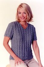"""Cable Tee - K1C2 Knit One Crochet Too Knitting Pattern #1010 Women 33""""-63"""""""