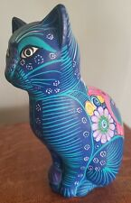 "Vintage Mexican Pottery Hand Painted Blue Cat Gato Pictorial Folk Art 7.5"" Matte"
