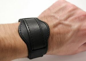 Model J16 black genuine leather cuff watch strap nato type for 18 mm lugs
