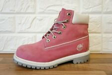 """Ladies Timberland Pink 6 """" Premium  Leather Ankle Boots Size 3.5 UK Womens"""
