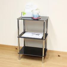 Hartleys Black Glass 3 Tier Side/Lamp/Coffee Lounge Living Room Table/Shelf