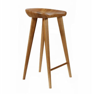 """NEW! CARVED WOOD BARSTOOL -30"""" CONTEMPORARY BAR/COUNTER TRACTOR STOOL-SET OF 2 W"""