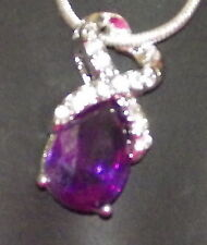 New 925 Sterling Silver & Crystal Teardrop Pendant Charm with Free Chain