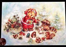 Mary Hamilton Teddy Bear Santa Raccoon Bird Squirrel Christmas Greeting Card New