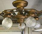 Antique Vtg Semi Flush Mount Chandelier Victorian Arts   Crafts Deco Green Gold