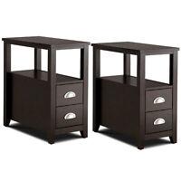 Set of 2 End Bedside Table Rectangular Nightstand W/ 2 Drawers & Shelf Espresso
