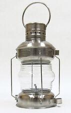 "Chrome Ship's Anchor Iron Oil Lamp Lantern 14.75"" Fresnel Lens Nautical Decor"