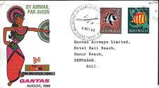 QUANTAS :1969 SYDNEY to BALI flight cover-EUSTIS 1643