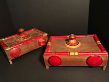 PAIR OF COLORFUL PAINTED FOLK ART BOXES,TURNED KNOBS,PARTITIONS WITHIN,PENNSYLVA