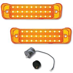 67 Chevrolet Chevy Impala LED Park Light Lamp Turn Signal Lenses Pair & Flasher