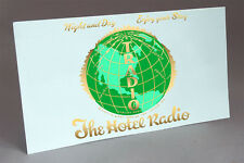 TRADIO HOTEL RADIO COIN OPERATED TUBE RADIO WATER SLIDE DECAL GREEN