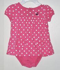 CARTER'S Size 9 Months Girls Pink Polka Dot Short Sleeves Body Double Bodysuit