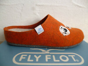 Fly Flot Slippers House Shoes Clogs Orange Felt Fabric New