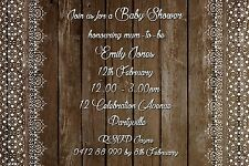 Printable Invite Personalised Rustic BABY SHOWER Vintage Lace JPEG You Print