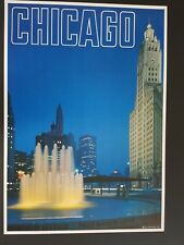 ORIGINAL 1960's  CHICAGO ILLINOIS TRAVEL POSTER   VINTAGE WRIGLEY BUILDING   60s
