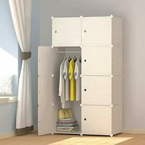 JOISCOPE MEGAFUTURE Wood Pattern Portable Wardrobe Closet for Hanging Clothes...